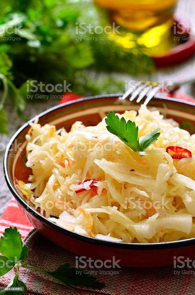 Sour cabbage,traditional dish of russian cuisine. stock photo
