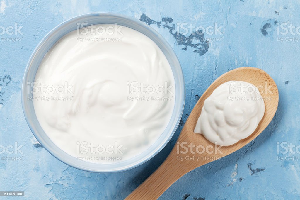 Sour cream. Dairy products stock photo