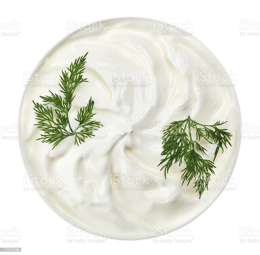Sour cream in small round plate with dill twig royalty-free stock photo