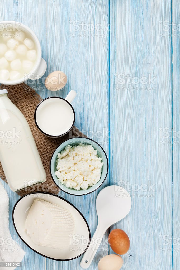 Sour cream, milk, cheese, eggs and yogurt stock photo
