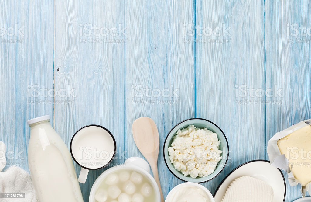 Sour cream, milk, cheese, yogurt and butter stock photo
