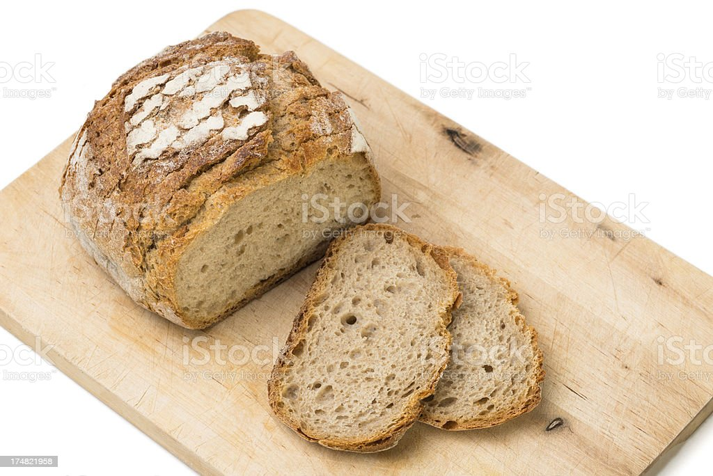 sour dough bread on a board royalty-free stock photo