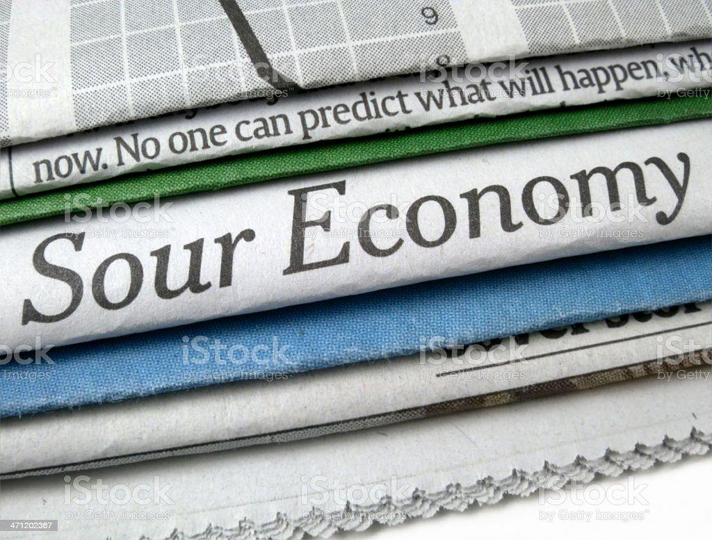 Sour Economy Headline stock photo