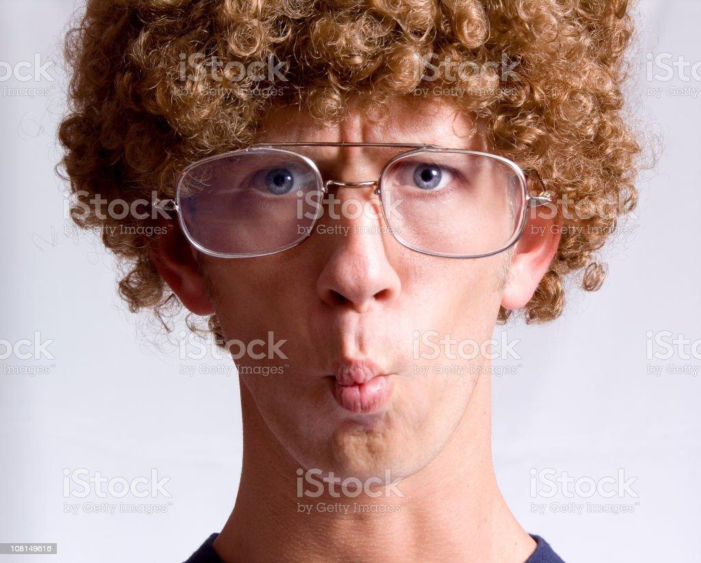 Sour lemon face stock photo