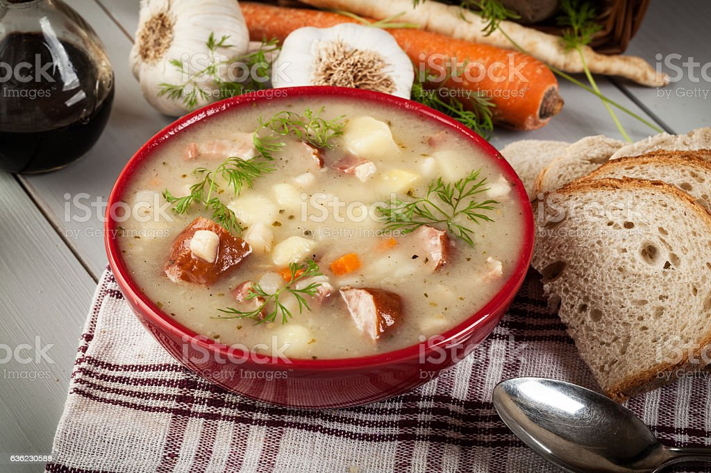 Sour soup made of rye flour stock photo