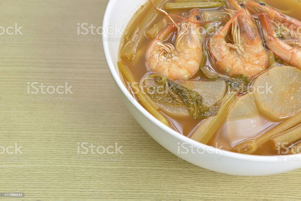 sour soup made of tamarind paste, Thai food stock photo