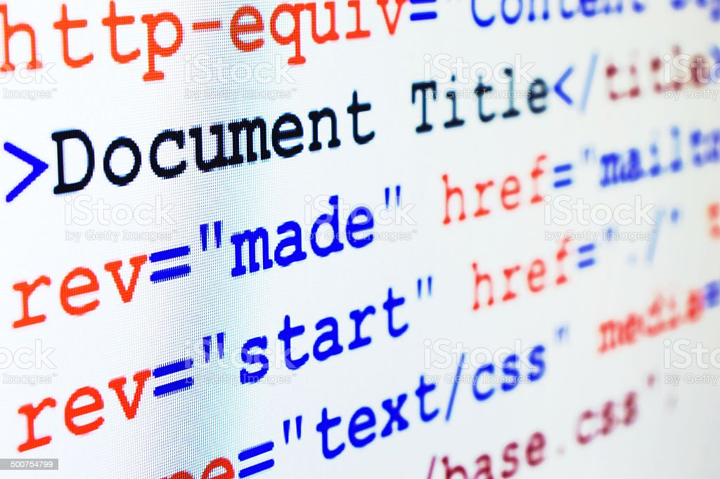 HTML source code of web page with title stock photo