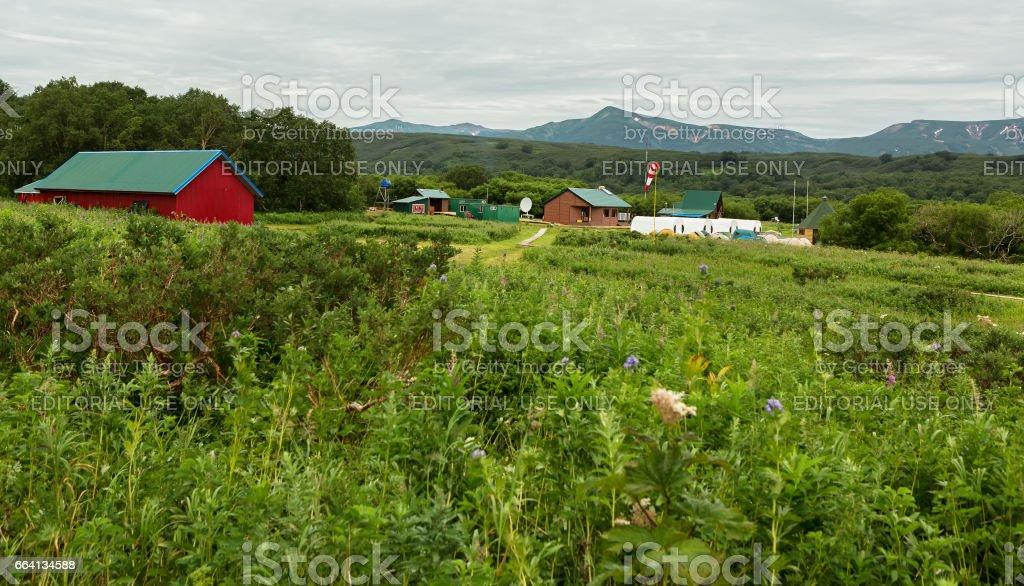 Source of river Ozernaya on Kurile lake. South Kamchatka Nature Park stock photo