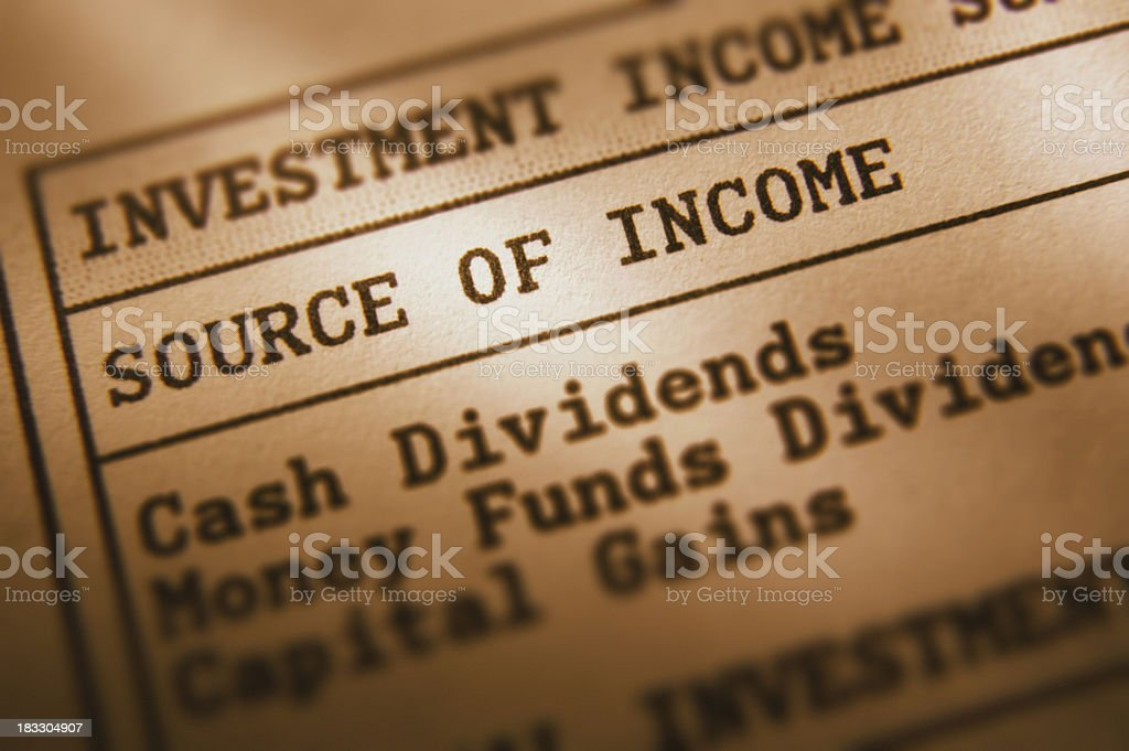 Sources of Investment Income royalty-free stock photo