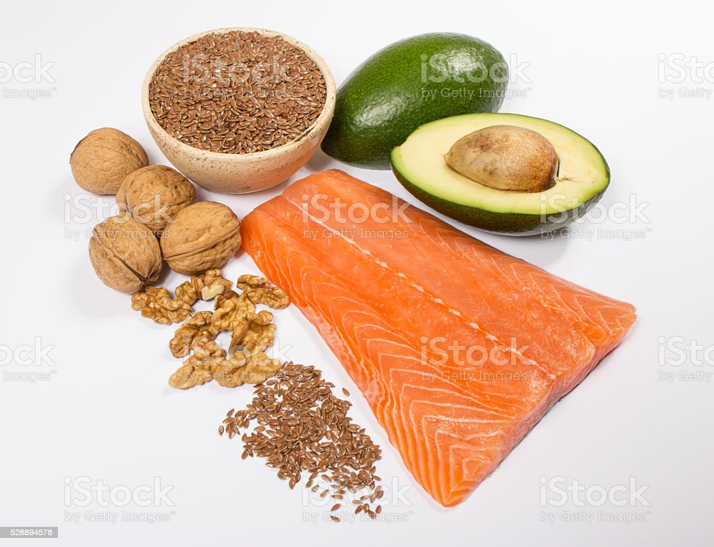 Sources of omega 3 fatty acids. stock photo