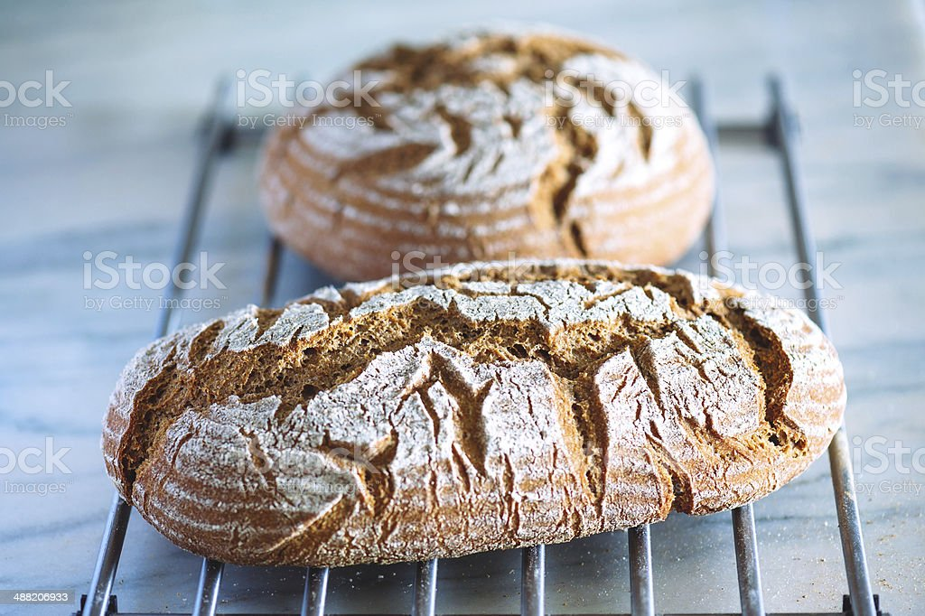 Sourdough Bread Cooling stock photo