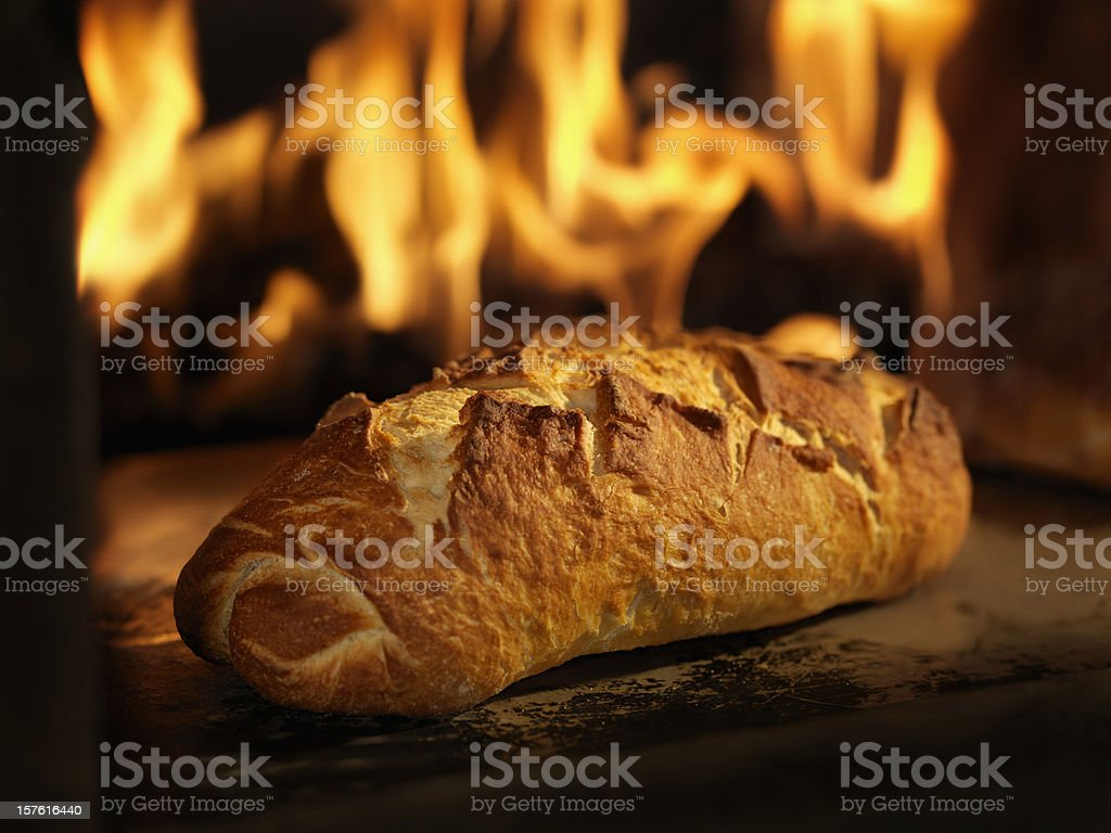 Sourdough Bread in a Wood Burning oven stock photo