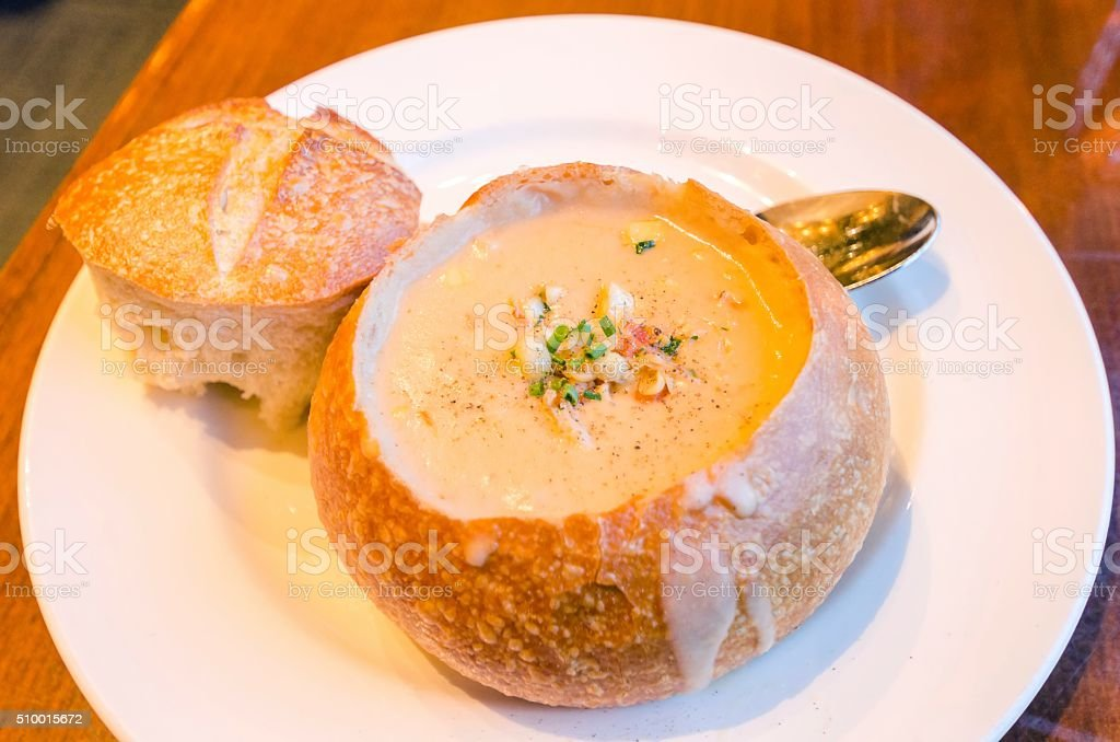 Sourdough Clam Chowder stock photo