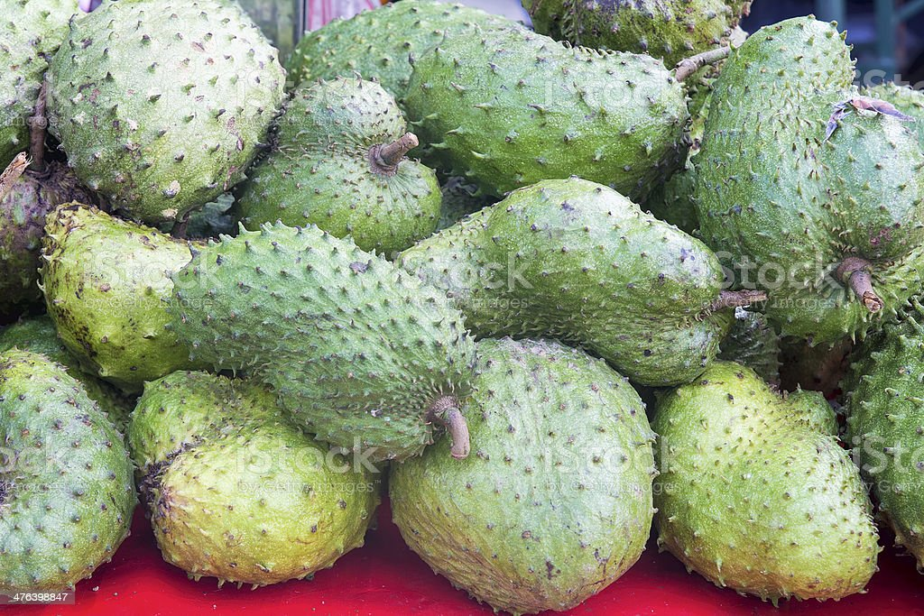 Soursop at Fruit Vendor Stall royalty-free stock photo