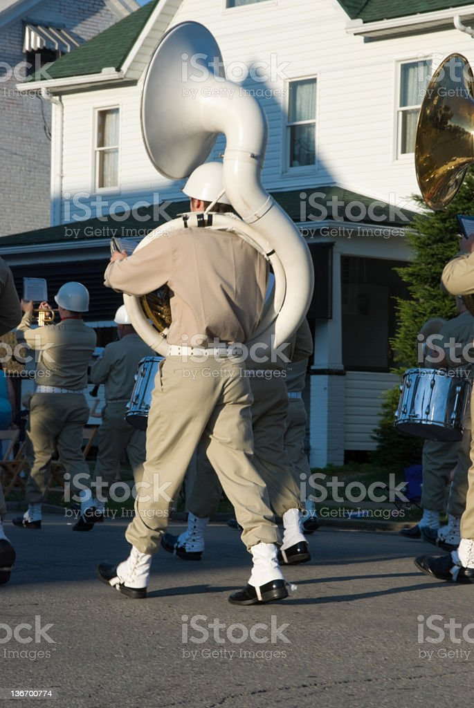 Sousaphone in Parade, Military Band Marching stock photo