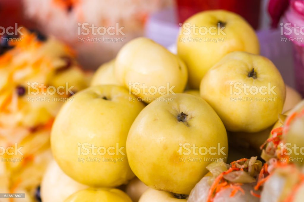 Soused green apples stock photo