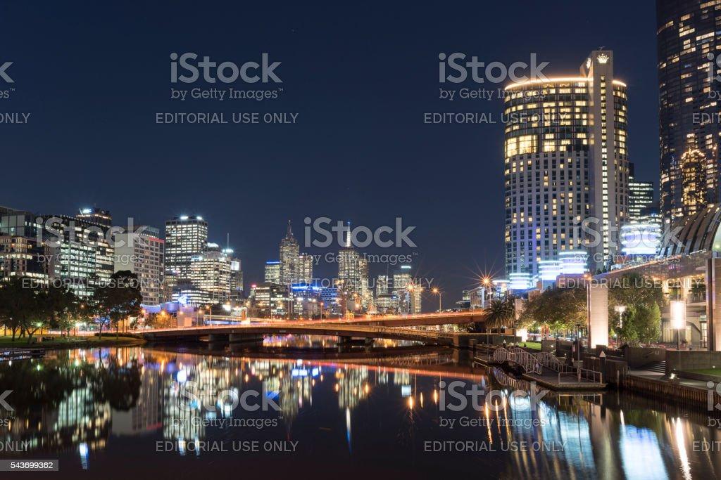 Soutbank Night Scene, Melbourne CBD, Australia stock photo