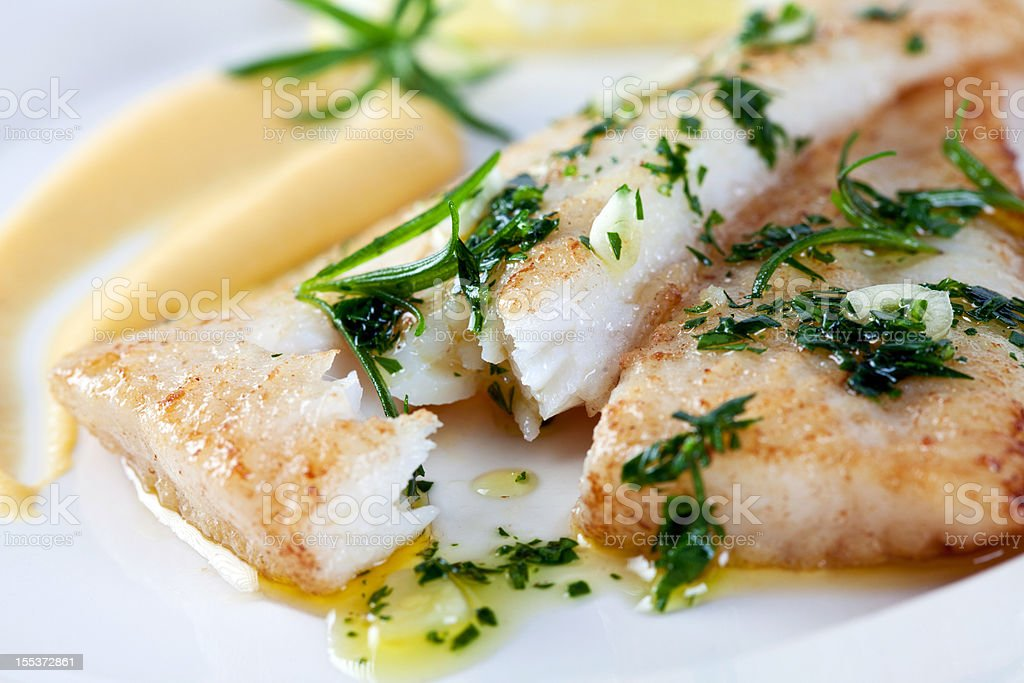 Soute fillet of white fish royalty-free stock photo