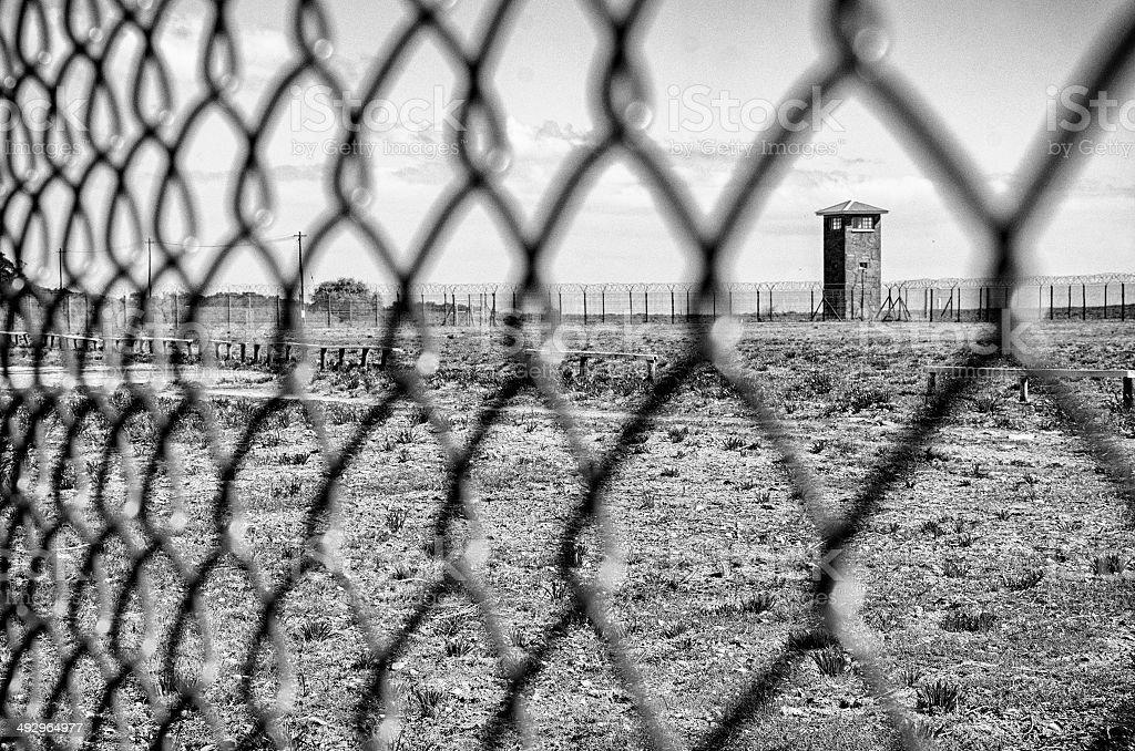 South Africa Black & White: Robben Island prison stock photo