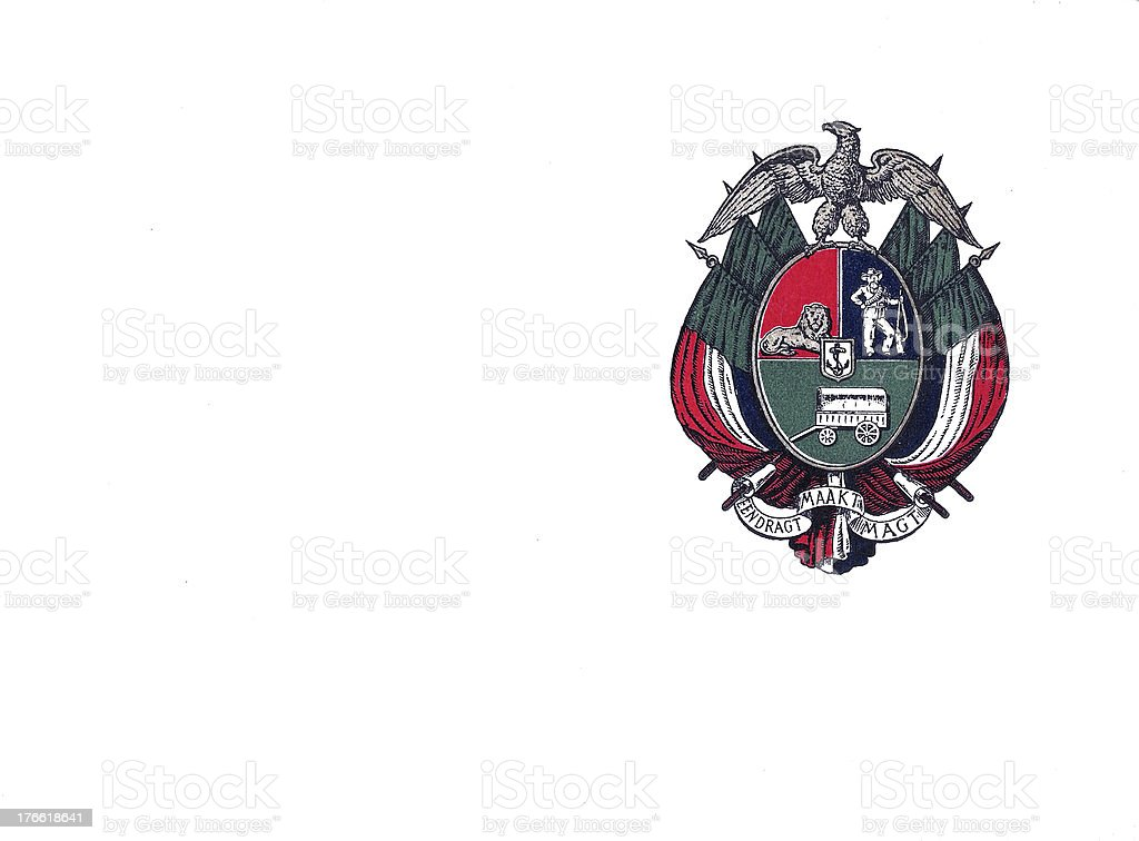 South Africa Boer Republic Emblem on Government Postcard royalty-free stock photo