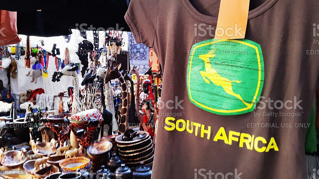 South Africa branded T-shirt with Springbok design stock photo