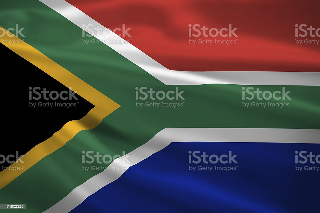 South Africa flag blowing in the wind stock photo