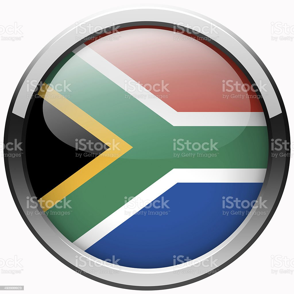 south africa flag gel metal button stock photo