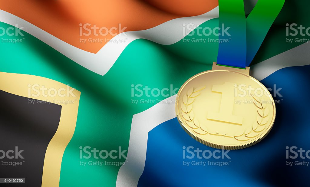 South Africa flag, gold medal stock photo