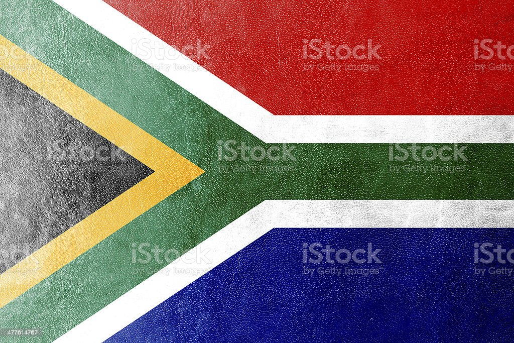 South Africa Flag painted on leather texture royalty-free stock photo