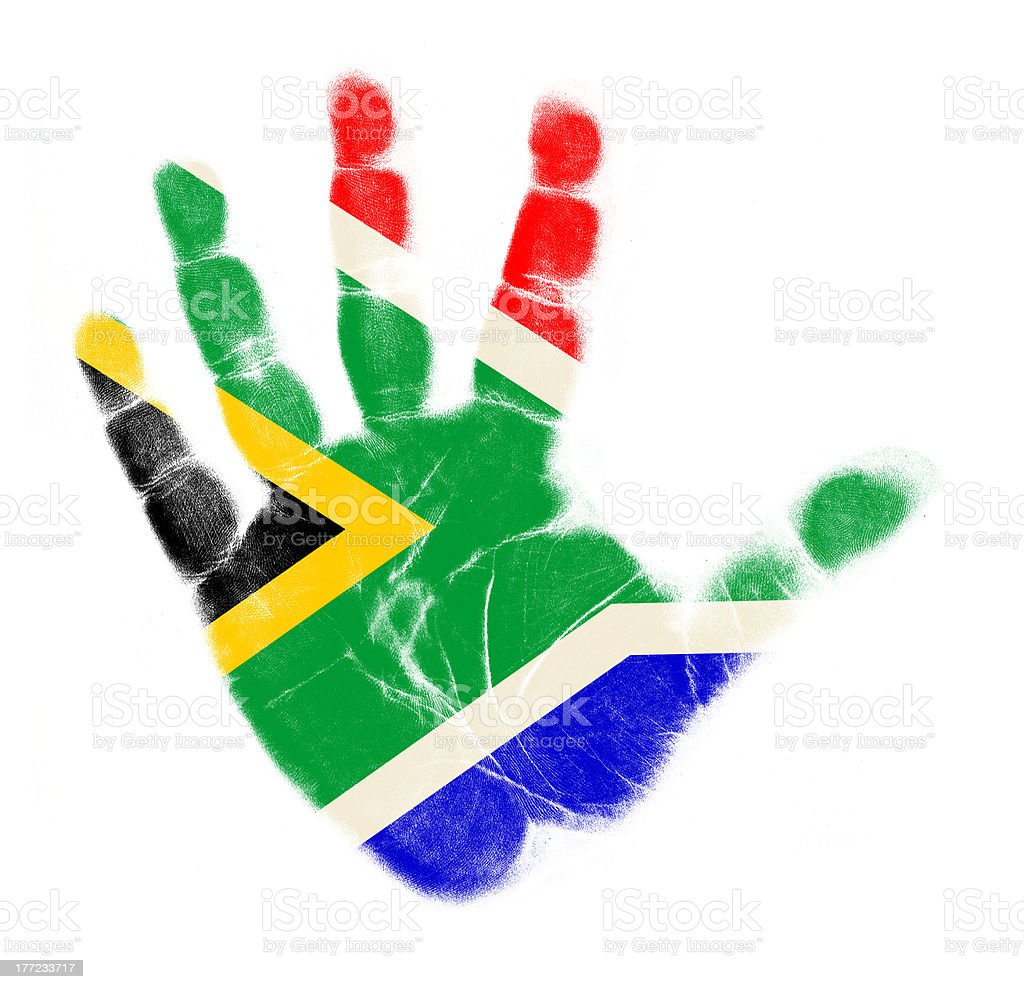 South africa flag palm print isolated stock photo