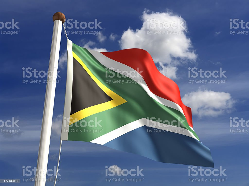 South Africa flag (with clipping path) stock photo