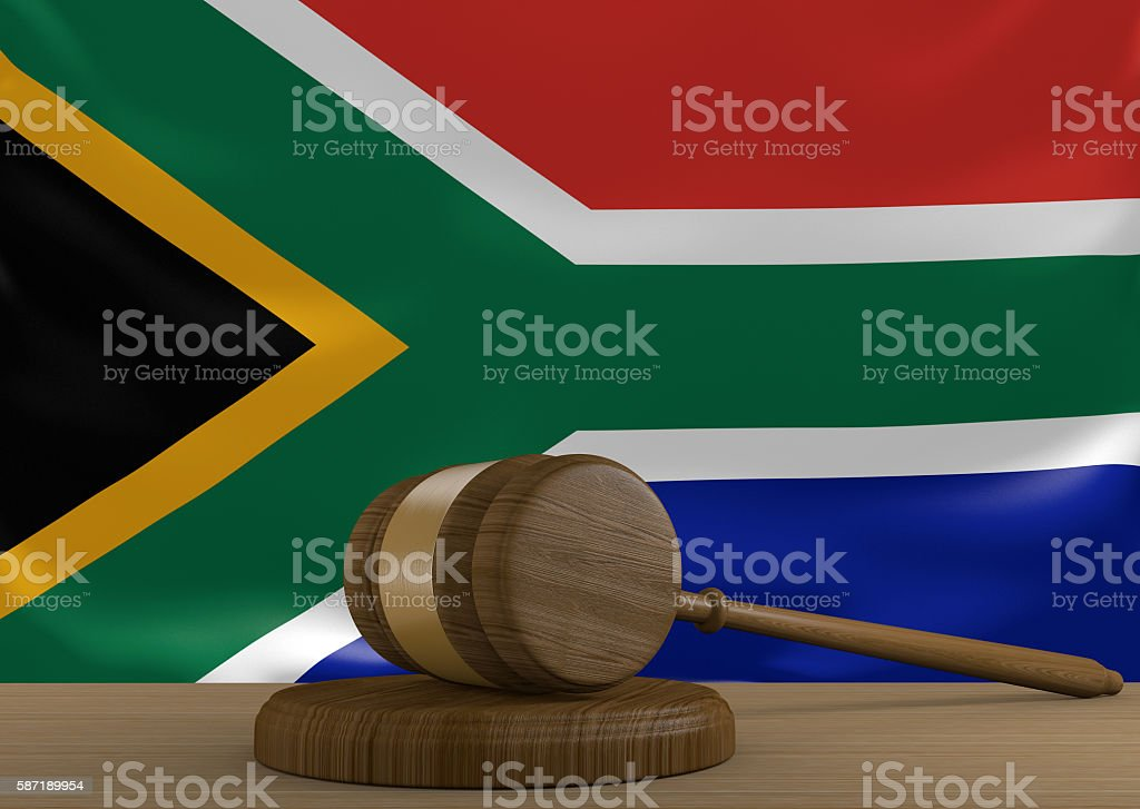 South Africa law and court justice system with national flag stock photo