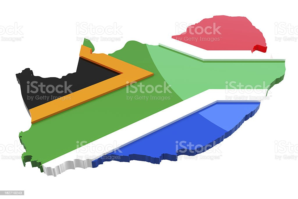 South Africa - Map and Flag royalty-free stock photo