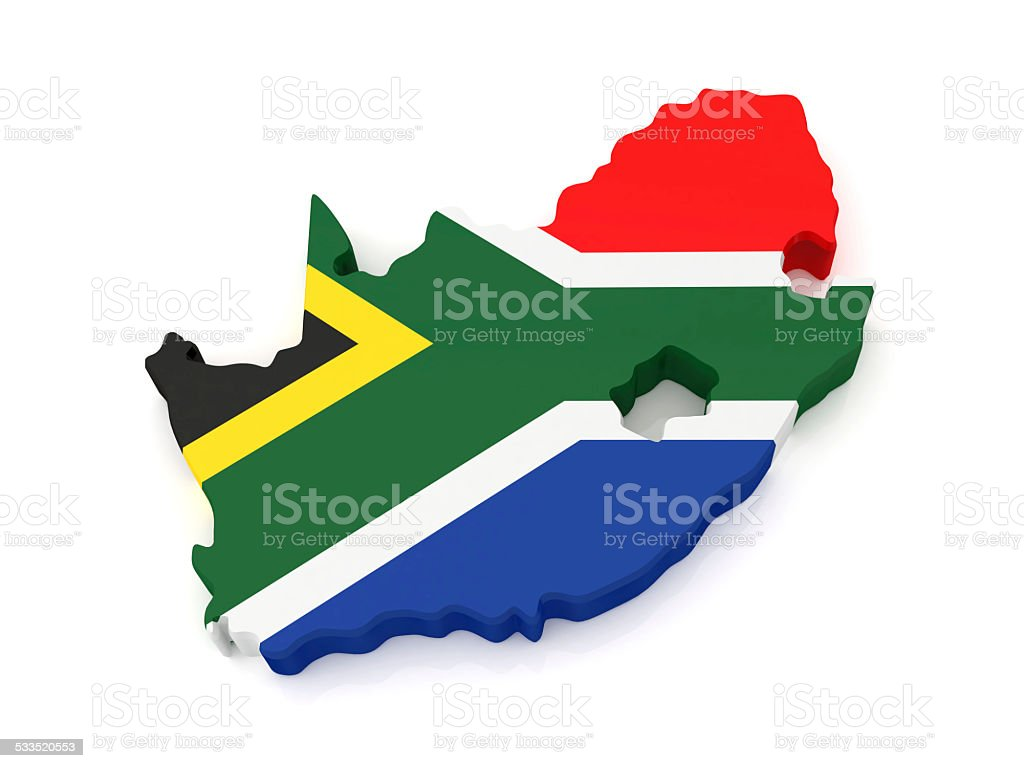 3D South Africa Map stock photo