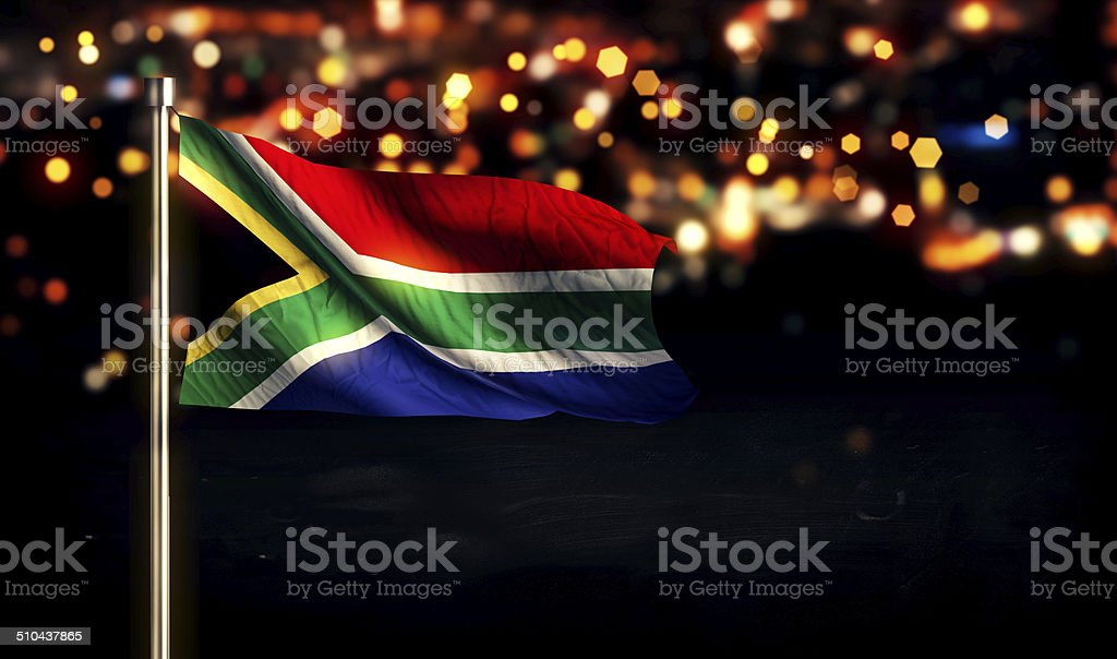 South Africa National Flag City Light Night Bokeh Background 3D stock photo