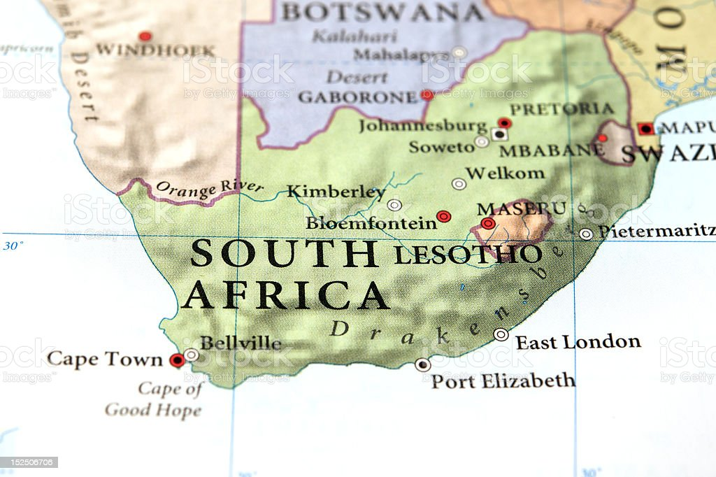 South Africa on map royalty-free stock photo