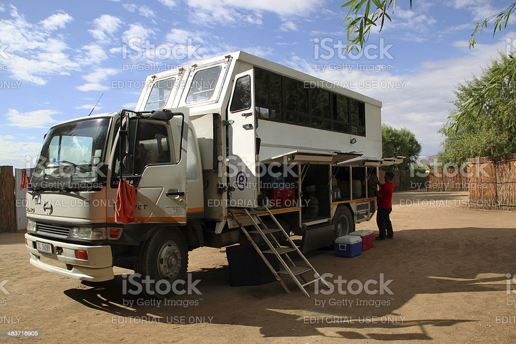South Africa: Overland Truck at a camp site stock photo
