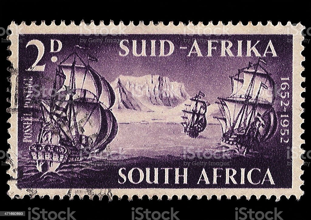 South Africa Postage Stamp 3 Ships 1952 royalty-free stock photo