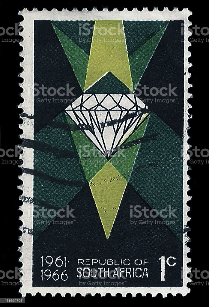South Africa Postage Stamp Diamond 5 Years Republic 1966 royalty-free stock photo