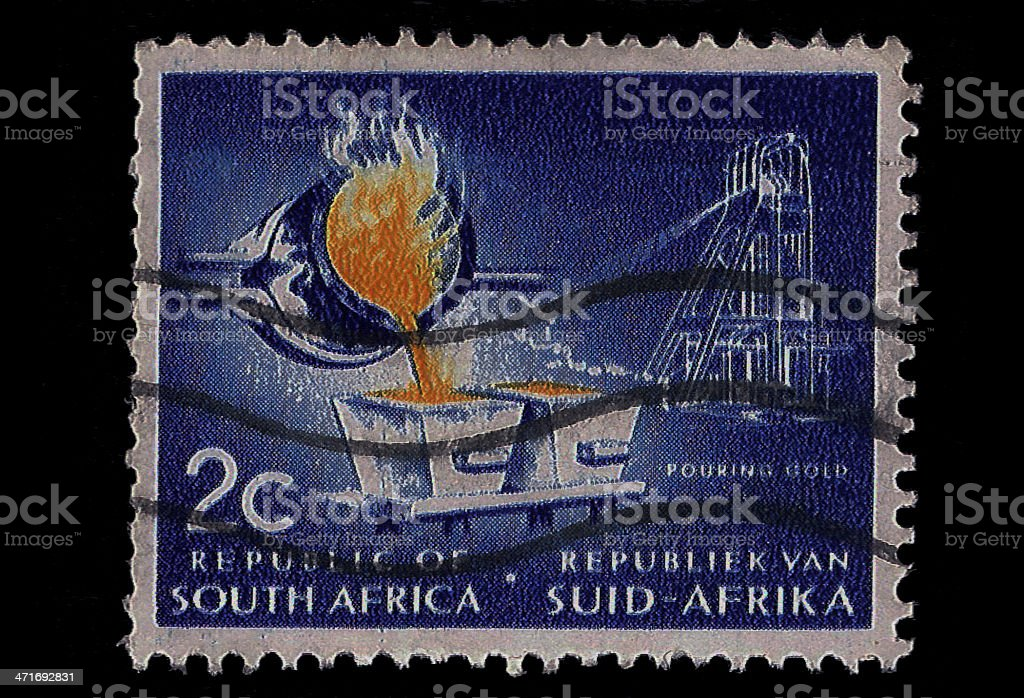 South Africa Postage Stamp Pouring Gold 1963 royalty-free stock photo