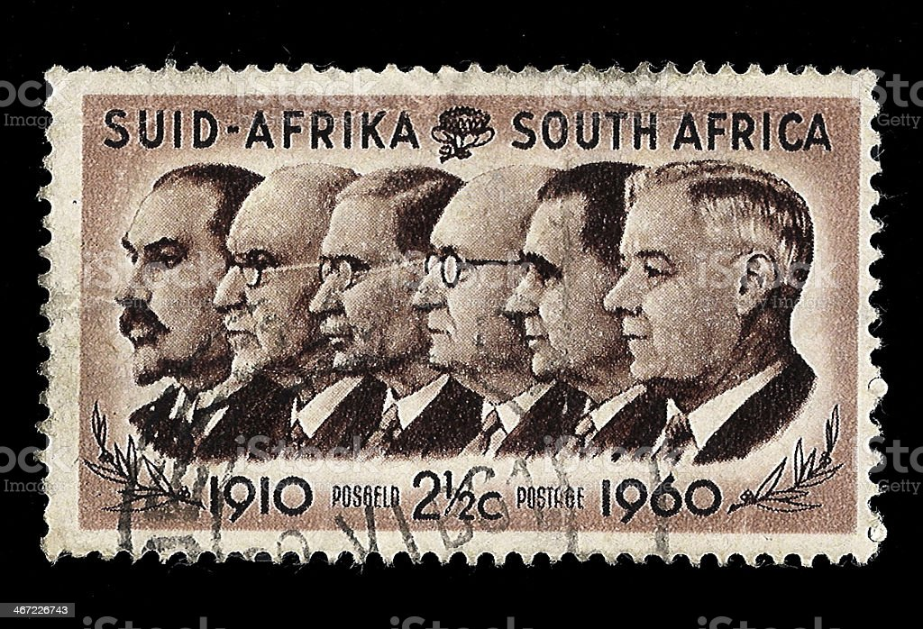 South Africa Postage Stamp Prime Ministers 1910-1960 stock photo