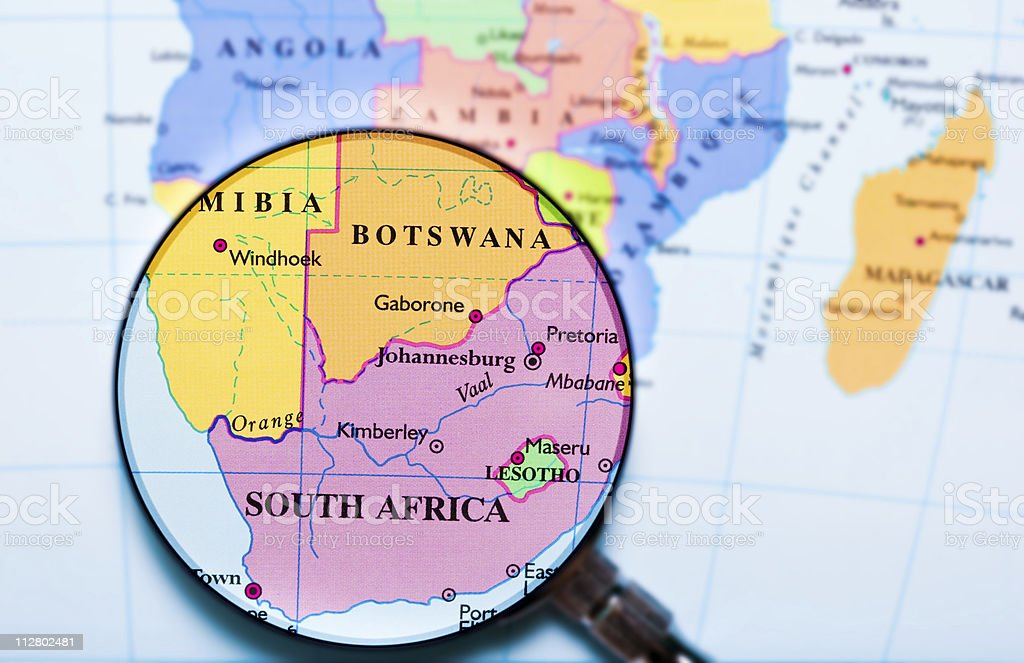 South Africa under loupe stock photo
