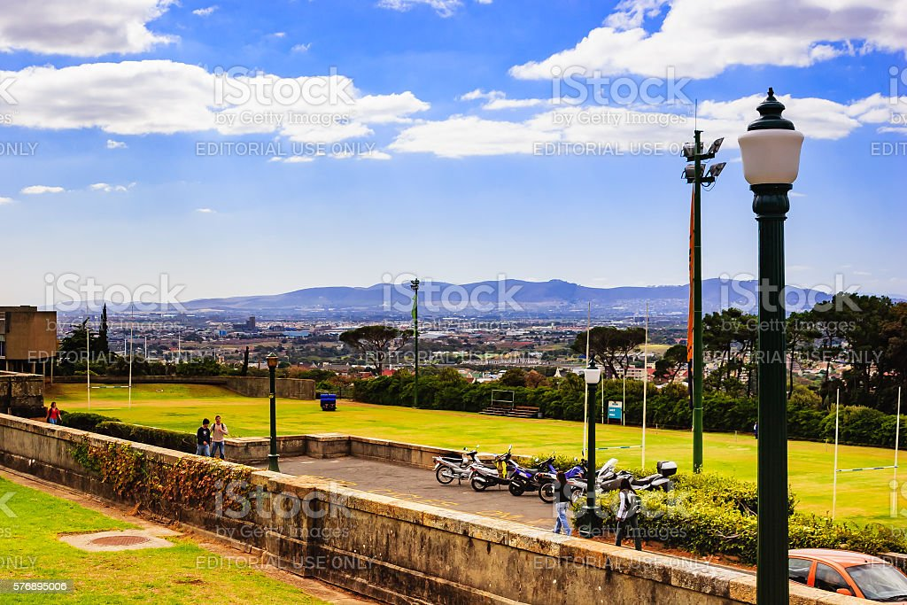 South Africa: view of city from University of Cape Town stock photo