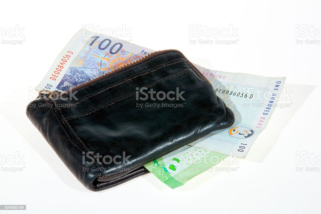 South African Bank Notes Enclosed by Leather Wallet stock photo