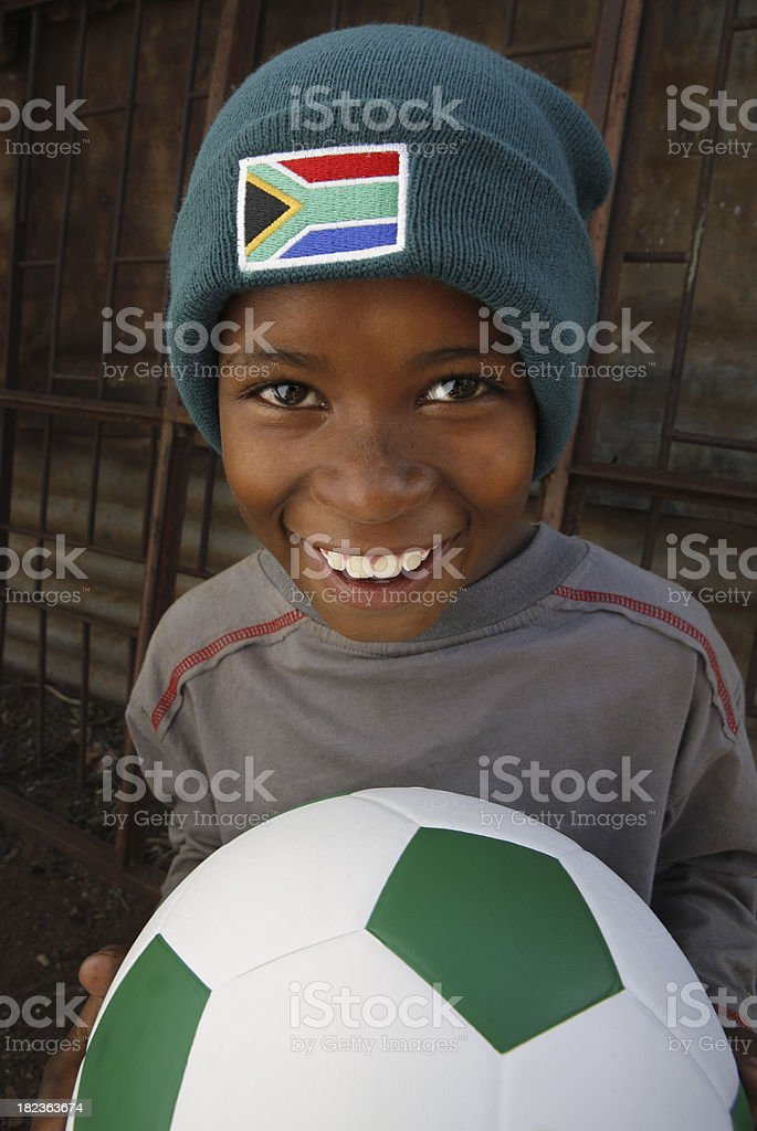 South African child soccer fan royalty-free stock photo