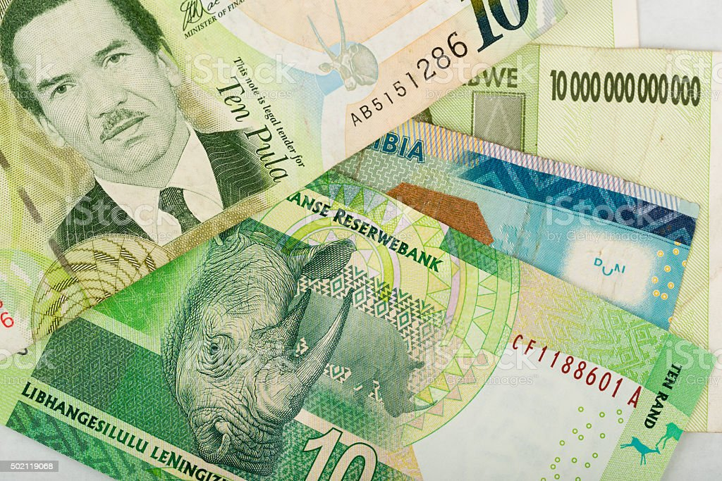 South african countries banknotes stock photo