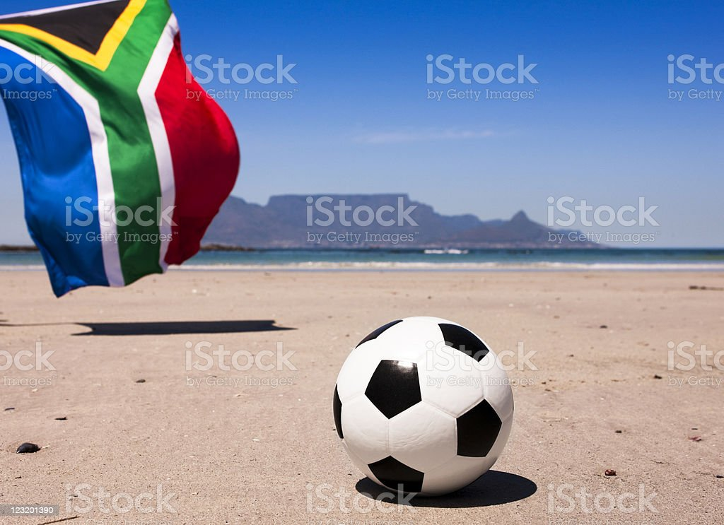 South African flag and soccer ball with Table Mountain royalty-free stock photo