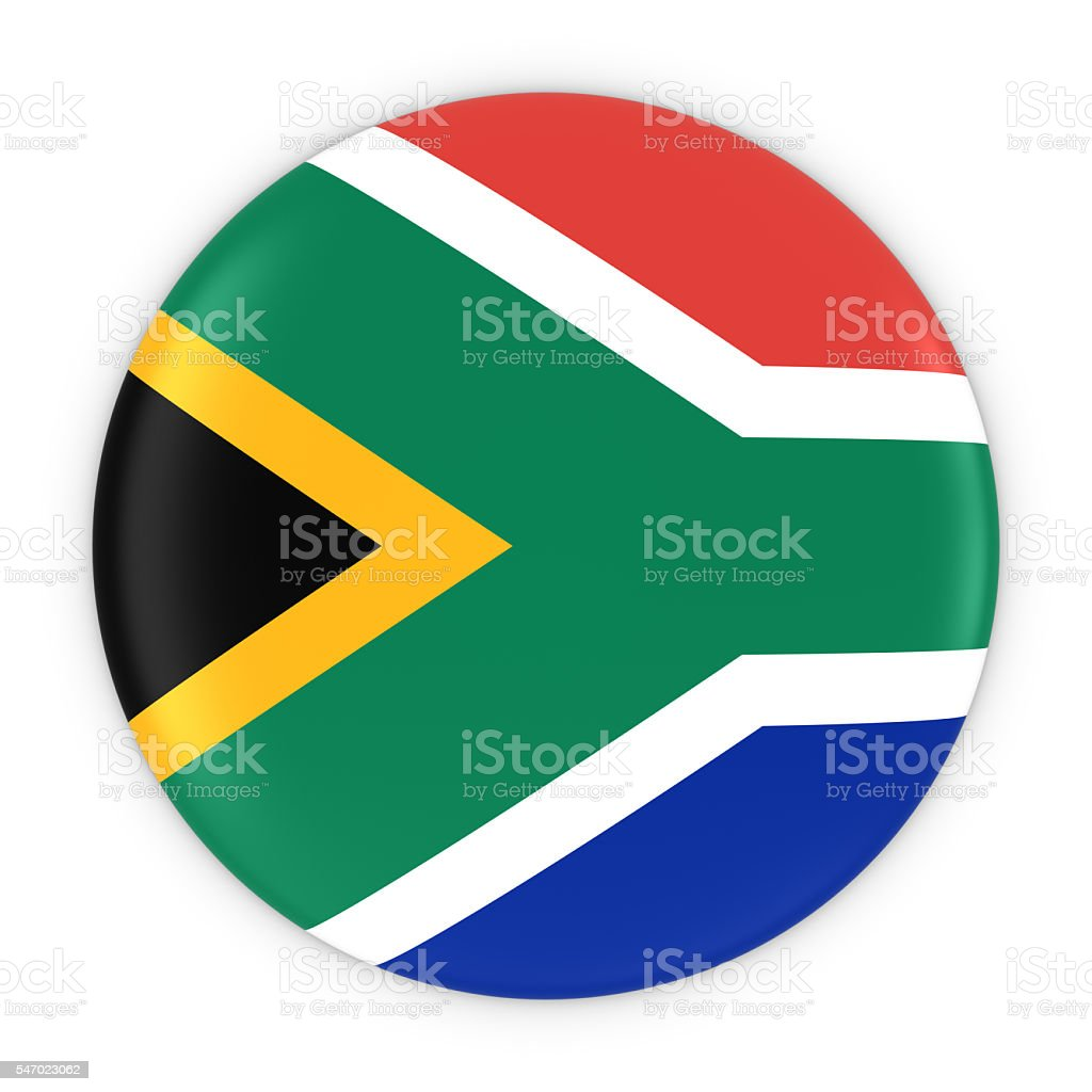 South African Flag Button - Flag of South Africa Badge stock photo