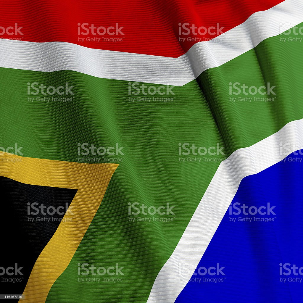South African Flag Closeup stock photo