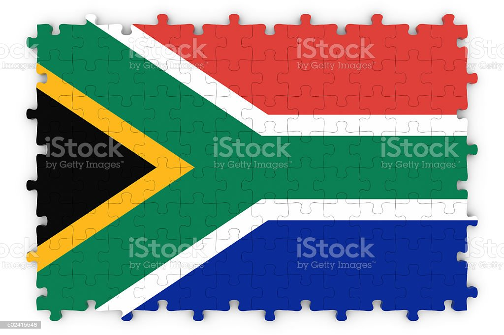 South African Flag Jigsaw Puzzle - Flag of South Africa stock photo
